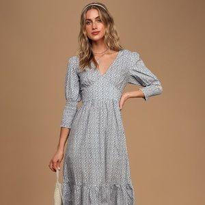 Fresh As A Daisy Blue and White Floral Midi Dress